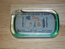 "Vintage Original Glass Advertising Paperweight ""Diels Collars 4 Ply 9 Cents"""