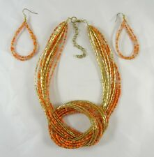New Multi Strand Gold & Coral Seed & Bugle Beed Necklace Earring Set #N2326