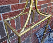 "Vintage Brass Bamboo 4 Tier Wall Shelf Chinese Pagoda Design Height 42"""