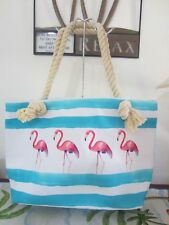 Parade Street Flamingo Beach or Tote Bag with Rope Handles-Aqua/White/Pink--NWT
