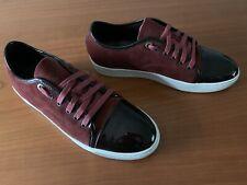 Lanvin Men's Suede Leather/ Patent CapToe Fashion Sneakers Burgundy Sz EU41/US 9