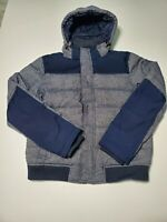 TOMMY HILFIGER Mens Blue/Grey Down Feather Hooded Puffer Jacket Size Large