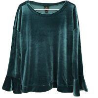 Worthington Size Petite 2XL Bold Emerald Green Velvet Bell Sleeve Top NWT