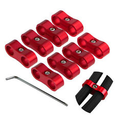 8pcs An-6 An6 13mm Braided Hose Separator Clamp Fitting Adapter Bracket Red