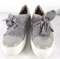 NEW AGL 39.5 Bow Gray Patent Slip On Sneaker platform shoes keds flats oxfords