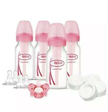 Dr. Brown's Options Slow Flow Bottle Set for Breastfed Baby 4 Ounce Pink New
