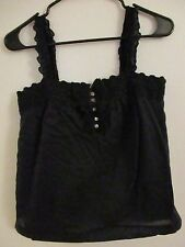 J. CREW SZ 2 BLACK SLEEVELESS TOP LINED BUTTONS PEASANT TOP BOW FRONT