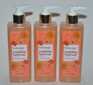 LOT OF 3 BODYCOLOGY SPICED PUMPKIN NOURISHING HAND SOAP WASH 10 OZ PUMP