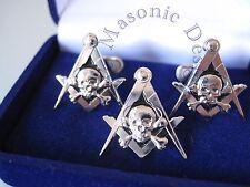 New3D Masonic Master Mason Skull Lapel Pin, &  Cufflinks (Silver) EMGD