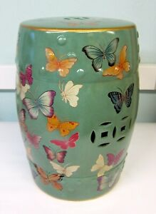 Oriental Chinese Turquoise Butterflies Porcelain Stool Table Mandarin Style