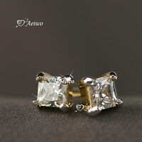 18K YELLOW WHITE GOLD EARRINGS GF CLEAR CRYSTAL SPARKLING SQUARE STUD 4MM TINY