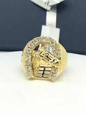 18k solid yellow gold diamond horse shoe ring. total diamond weight: 0.59ct.