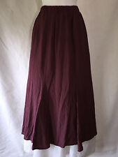 Flax by Jeanne Engelhart Long Purple Check Crinkled Rayon Flared Skirt Petite P