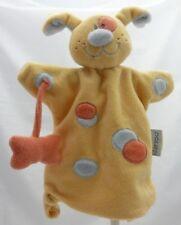 Nattou doudou velours marionnette chien jaune avec os non détachable 26 cm