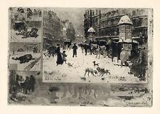 """rare Félix-Hilaire BUHOT original etching """"L'Hiver a Paris"""" or """"La Neige a Paris"""