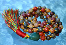 Red Picasso Jasper Knotted Japa Mala Beads - Renew lost Friendship, Stability