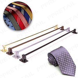 2 x TIE RACK RAIL BAR ANTIQUE/BRASS/SILVER/BLACK Wardrobe Door Mounted Storage