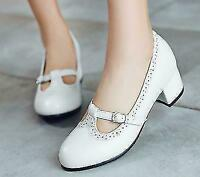Womens Round Toe mary Jane High Heels Dress Casual T-Strap Pump Shoes Plus Size