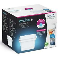 12 x Aqua Optima Evolve+ 30 Day Water Filter Cartridge Refill fits Brita Maxtra+