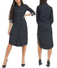 Womens Size 6 - 14 Longline Denim Shirt Dress Ladies Jean Dresses Black