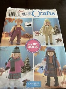 """UNCUT Simplicity 5676 18"""" American Doll Clothes Pattern Coat Hat Mittens Scarf"""