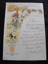 Menu ancien Dubouché Cognac Bisquit  chasse chevaux  chiens déjeuner manuscrit