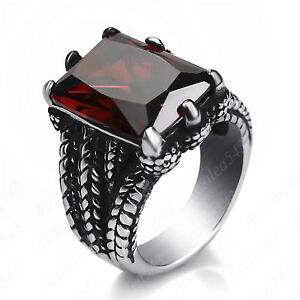 Men's Dragon Claw Set Ruby Red CZ Stone 316L Stainless Steel Biker Ring