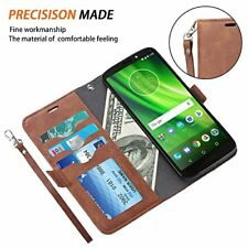 Motorola Moto Z3 Play Wallet Case Leather Folio Stand Cover Magnetic Close Brown