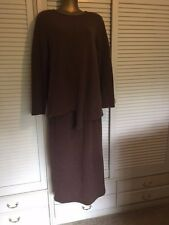 Designer Kerry McGee Wool Taupe Skirt & Asymmetric Top Sz 16 Australian Made