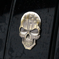 Metal 3D Bronze USA American Flag Skull Car Trunk Emblem Badge Decals Sticker