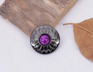 10X Purple Bead Charm Gun Silver Sun Flower Leather Wallet Western Concho