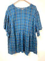 terra & sky womens blue plaid short sleeve shirt blouse plus size 2X 20 w 22 w