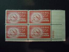 "1949 #C44 25c Postal Union Plate Block  MNH OG ""Includes New Mount"""
