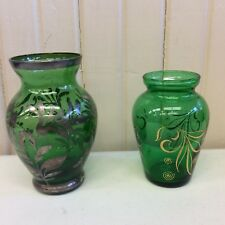 Two vintage green glass mini vases with golden tone designs       (ZZ  T3)
