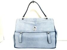 Auth YSL Muse Two Large 197148 Blue-Gray Leather Suede Handbag w/ Dust Bag