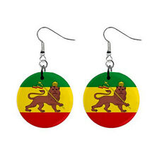 "New Ethiopia Ethiopian Flag 1"" Button Earrings Free Shipping"