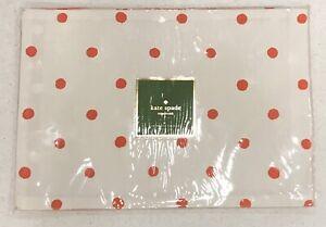 NWT Set of 4 Kate Spade Placemats Charlotte Street Red White Polkadot Reversible