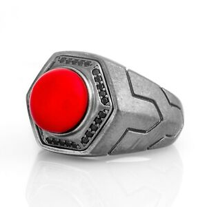 Mens Red Coral Ring Gemstone Rings For Man Oxidized Silver Signet Ring Gift Him