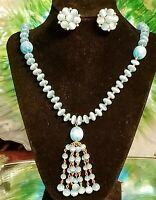 LISNER PARURE ~AQUA & GOLD MOONSTONE CABOCHON BEADED NECKLACE & CLIP EARRINGS  ☆