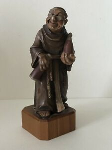 VINTAGE ANRI HAND CARVED WOOD CARVING Monk Holding 2 Bottles Wine Made In Italy