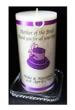 Mother of the Bride Personalised gift candle purple hat Thank you present