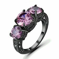 Size 9 Pink Sapphire Ring 10KT Black Gold Filled Engagement & Wedding Rings