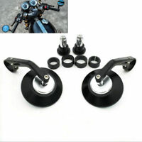 Round Motorcycle Rear View Handle Bar End Rearview Side Black Cafe Racer Mirrors