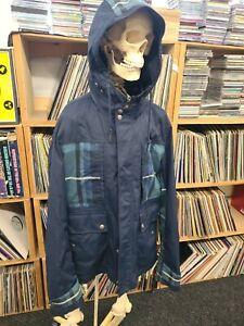 Pretty Green Blandford Jacket Blue Tartan Hooded Large Coat