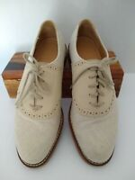 Made in USA Cole Haan Saddle Oxford Shoes Men's 7 D Beige Linen Tan Suede G2