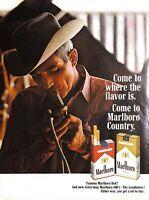 1968 Marlboro Cigarettes Vintage Print Ad Come To Where The Flavor Is