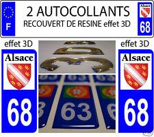 2 STICKERS RECOUVERTE DE RESINE PLAQUE D IMMATRICULATION DEPARTEMENT 68 Bas Rhin