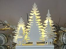 LED Christmas Tree Reindeer Decoration Pre Lit Glittery Silhouette White Wooden