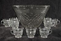 Anchor Hocking Wexford Punch Bowl & 9 Cups - Large Salad Bowl