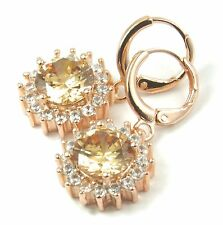 Women's Rose Gold plated Champagne Crystal drop dangle earrings